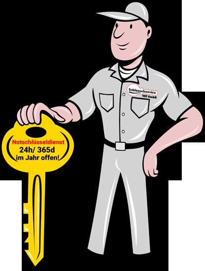 Ein Grauer Mann mit einem grossen Schlüssel